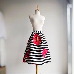 NWT AMELIA JAMES | Striped Floral Flouncy Skirt |